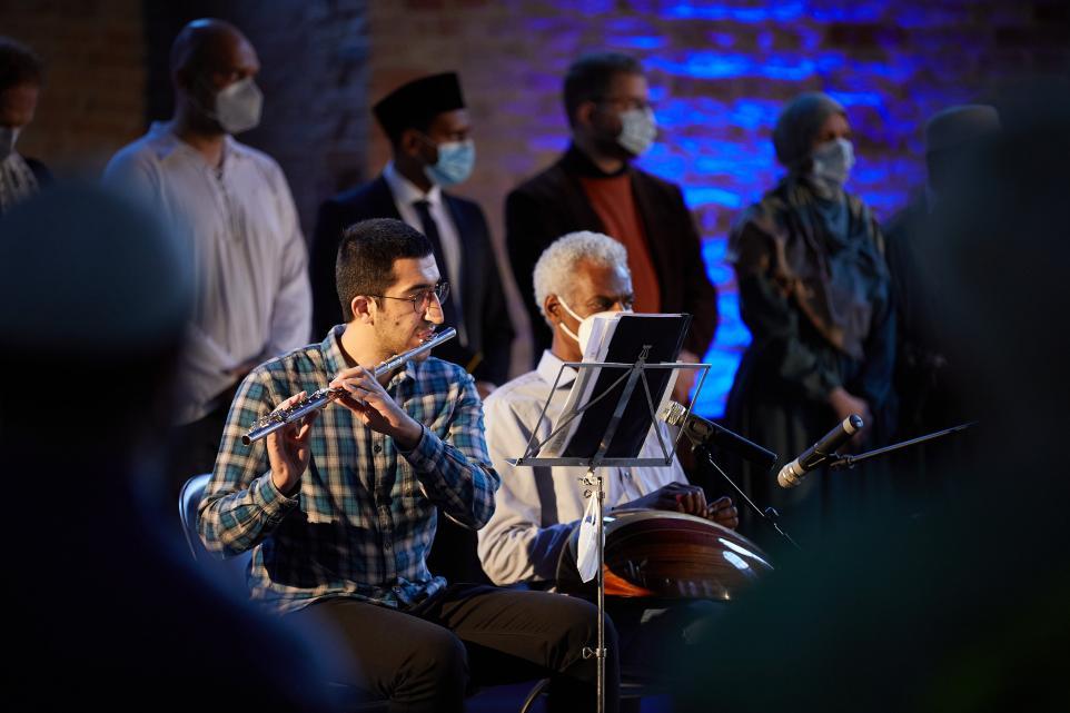 Flötist Halil Baycol und Oud-Spieler Hassan Elmalik Friedensgebet in der Parochialkirche 11. September / Peace Prayer 9/11 20 years