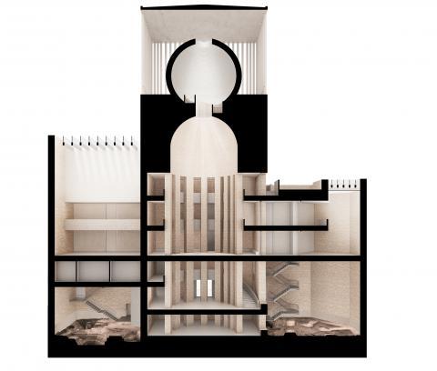 House of One, Gebäude, Grafik, Schnittperspektive, Religion, Judentum, Christentum, Islam, Dialog